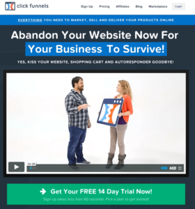 Free 14 day trial of Clickfunnels